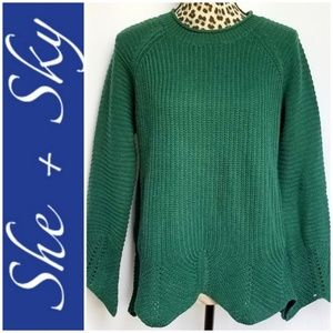 She & Sky Green Knit Sweater w/ Scalloped Trim